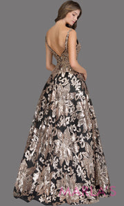 Back of Long sequin beaded black gold semi ball gown w/low back.This beaded black formal v neck ballgown is perfect as a black prom dress,wedding reception or engagement dress, indowestern formal party gown, fancy wedding guest dress. Plus Sizes avail
