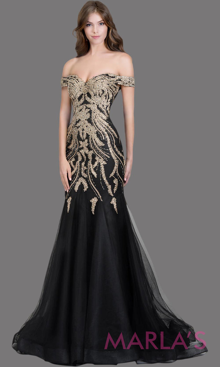 Long black fitted mermaid evening gown with gold lace & corset.This off shoulder formal gown is perfect as black prom dress, wedding reception or engagement dress, formal wedding guest dress, indowestern evening party gown.Plus sizes avail