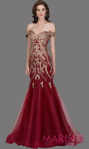 Long burgundy fitted mermaid evening gown w/gold lace & corset.This off shoulder formal gown is perfect as red prom dress, wedding reception or engagement dress, formal wedding guest dress,indowestern formal evening party gown.Plus sizes avail