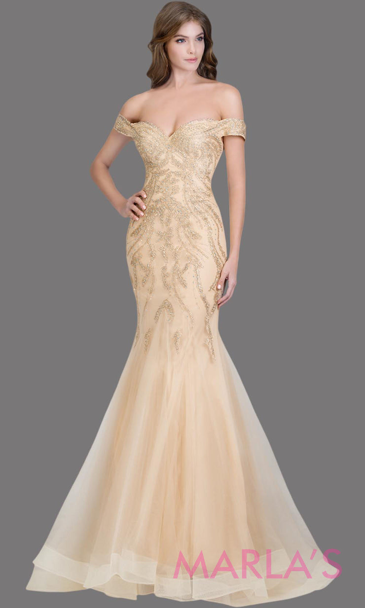 Long champagne fitted mermaid evening gown with gold lace & corset.This off shoulder formal gown is perfect as prom dress, wedding reception or engagement dress, formal wedding guest dress,indowestern formal evening party gown.Plus sizes avail