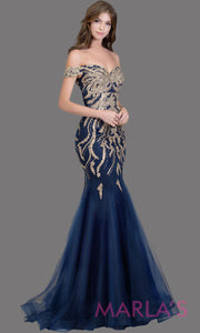 Long navy blue fitted mermaid evening gown w/ gold lace & corset.This off shoulder formal gown is perfect as prom dress, wedding reception or engagement dress, formal wedding guest dress,indowestern formal evening party gown.Plus sizes avail