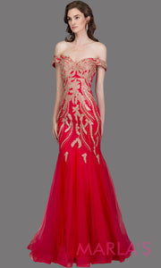Long red fitted mermaid evening gown with gold lace & corset. This red off shoulder formal gown is perfect as prom dress, wedding reception or engagement dress, formal wedding guest dress, indowestern formal evening party gown.Plus sizes avail