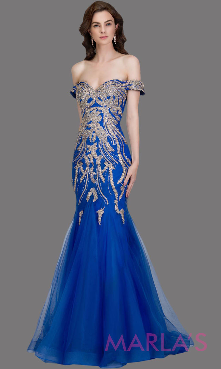 Long royal blue fitted mermaid evening gown w/ gold lace & corset.This off shoulder formal gown is perfect as prom dress, wedding reception or engagement dress, formal wedding guest dress,indowestern formal evening party gown.Plus sizes avail