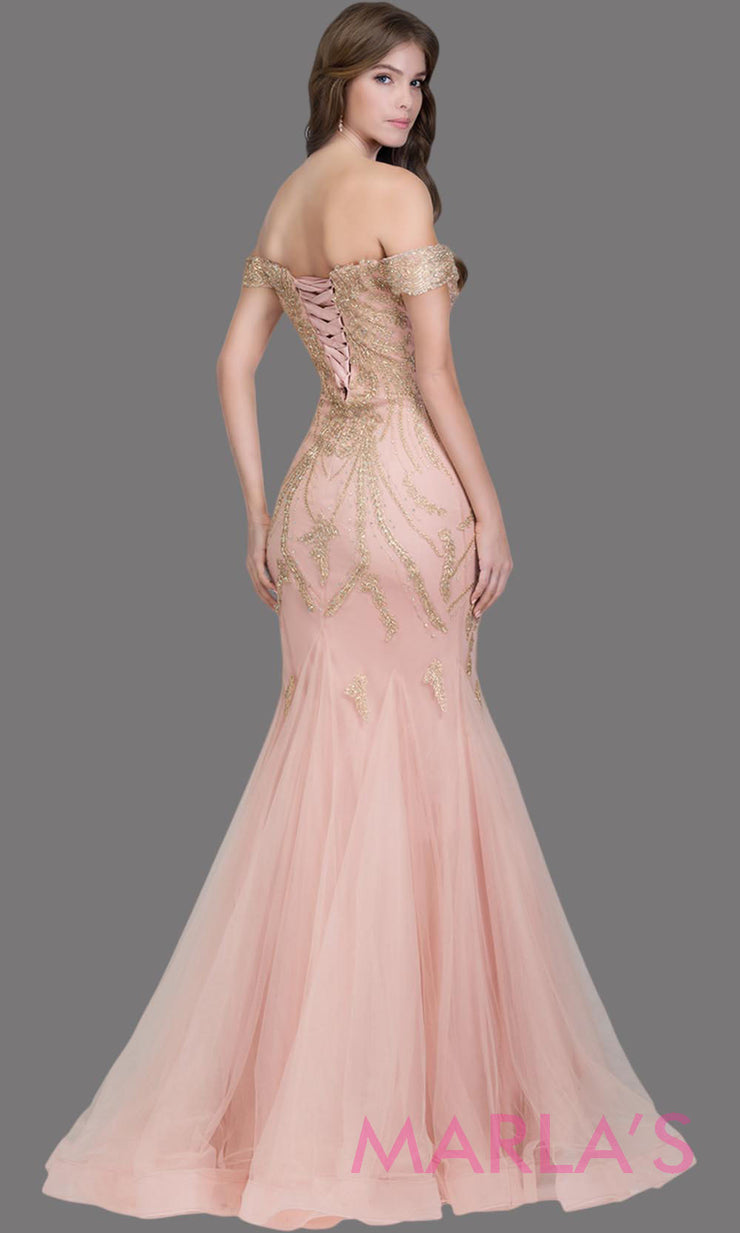 Back of Long rose pink fitted mermaid evening gown with gold lace & corset.This off shoulder formal gown is perfect as prom dress, wedding reception or engagement dress, formal wedding guest dress,indowestern formal evening party gown.Plus sizes avail
