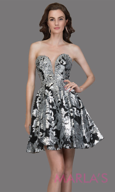Short strapless sweetheart black & silver lace grade 8 grad dress wpuffy a line skirt.This black dress is perfect as a graduation dress, quinceanera damas, bat mitzvah dress, confirmation, short prom dress, 8th grade grad. Plus sizes avail