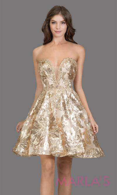 Short strapless sweetheart gold lace grade 8 grad dress with a puffy a line skirt. This gold dress is perfect as a graduation dress, gold quinceanera damas, bat mitzvah dress, confirmation, short prom dress, 8th grade grad. Plus sizes avail