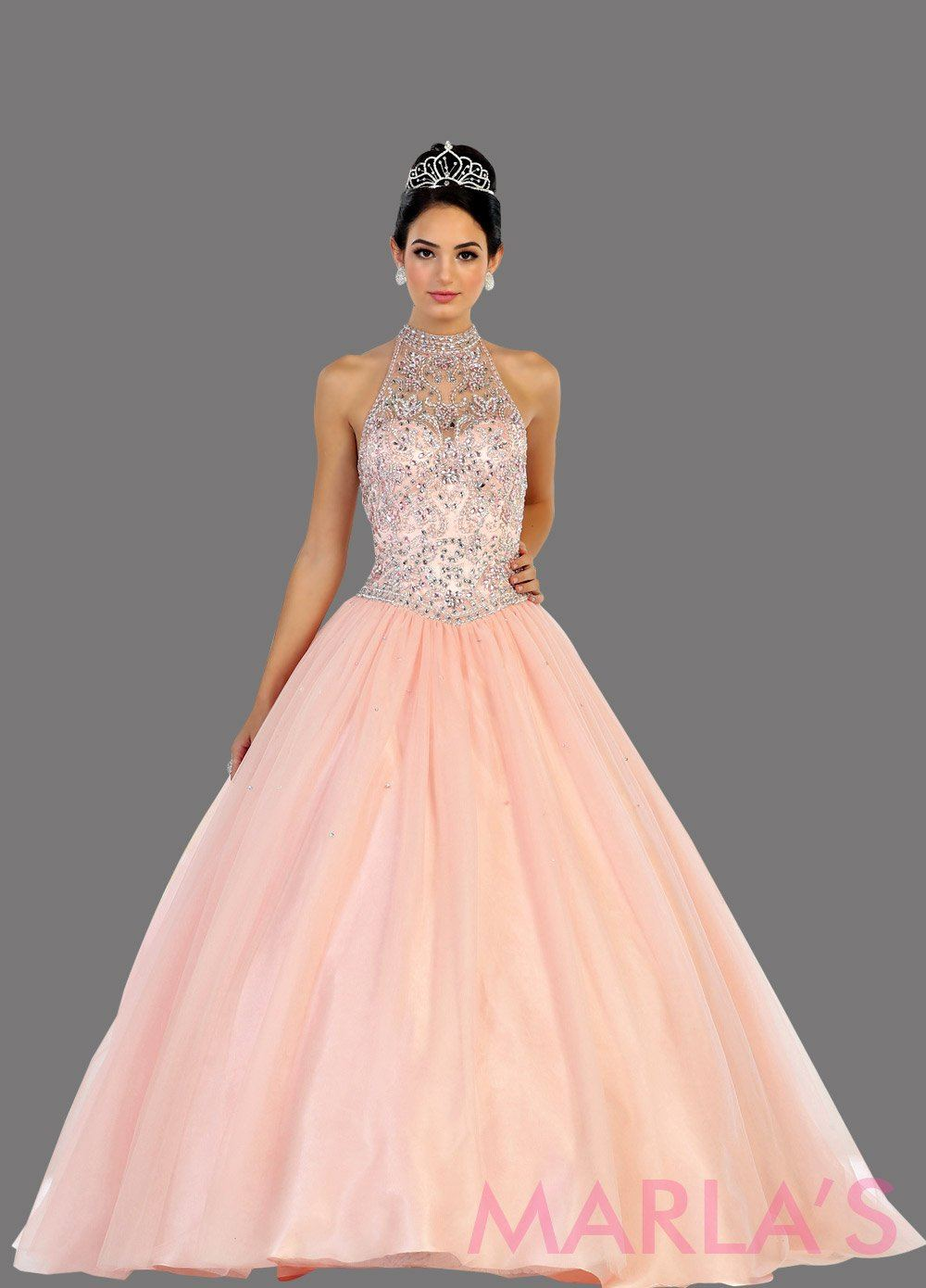 Halter Beaded Light Pink Quinceanera Ball Gown 80.13L ...
