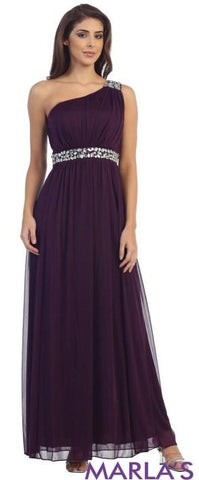 Purple One Shoulder Long Dress with Beading Under the Bust - Marla's Fashions - 1