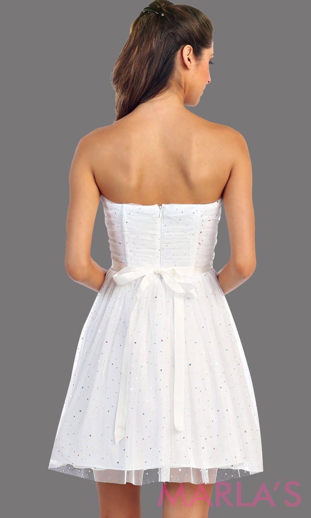 * Short White Lace Dress with All Over Glitter