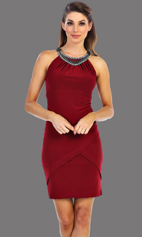 Short Burgundy Fitted Dress With Jewel Neckline