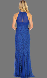 Long Lace Dress With Ruched Bodice & Jewel Neckline