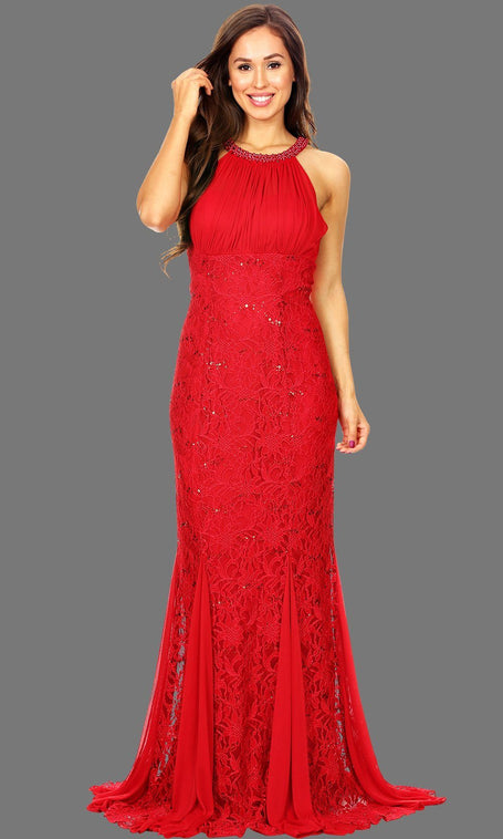 e8661c8bdb4 Long Red Lace Dress With Ruched Bodice   Jewel Neckline