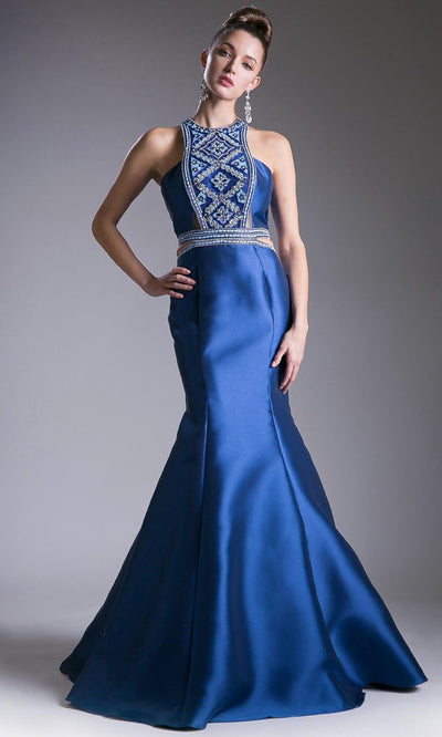 Cinderella Divine - 83789 Beaded Mikado Mermaid Gown In Blue