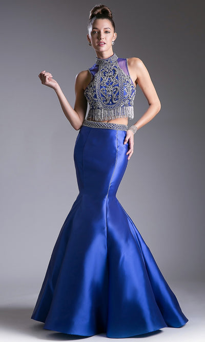 Cinderella Divine - 84016 Beaded Croptop Mermaid Gown In Blue