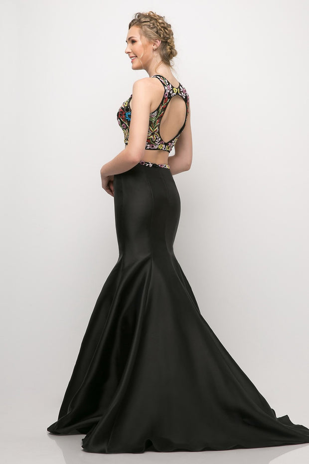 Cinderella Divine - 84267 Floral Mikado Mermaid Gown In Black