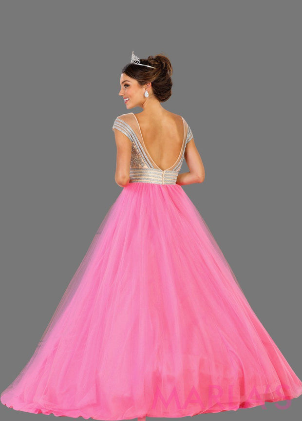 Back of Long hot pink princess off shoulder ball gown with rhinestone beading Perfect for Engagement dress, Quinceanera, Sweet 16, Sweet 15 and light pink Wedding Reception Dress. Available in plus sizes