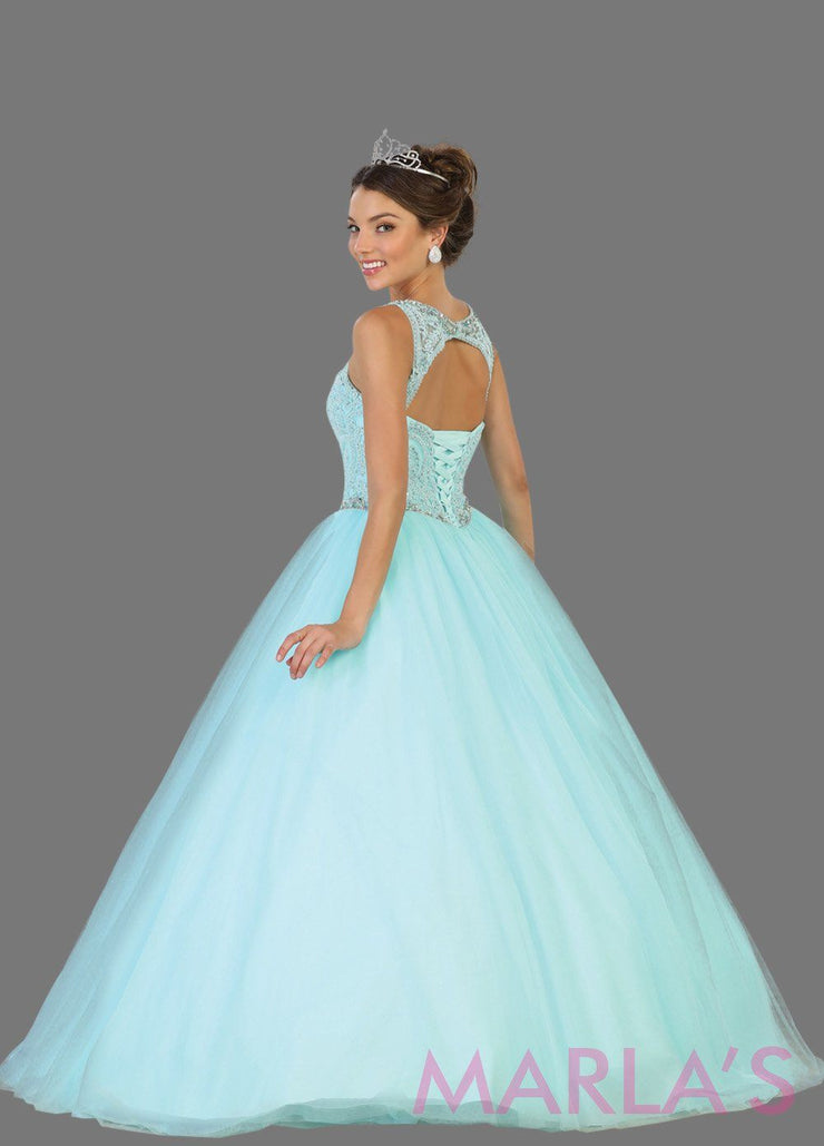 Long v neck light blue princess ball gown with rhinestone beading. Perfect for Engagement dress, Quinceanera, Sweet 16, Sweet 15 and aqua blue Wedding Reception Dress. Available in plus sizes