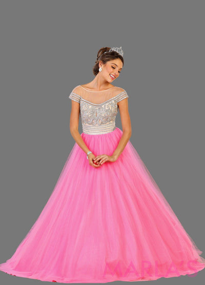 Long hot pink princess off shoulder ball gown with rhinestone beading Perfect for Engagement dress, Quinceanera, Sweet 16, Sweet 15 and light pink Wedding Reception Dress. Available in plus sizes