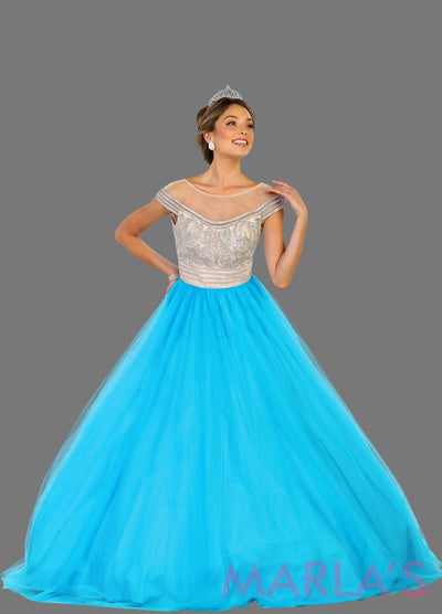Long turquoise blue princess off shoulder ball gown with rhinestone beading Perfect for Engagement dress, Quinceanera, Sweet 16, Sweet 15 and light blue Wedding Reception Dress. Available in plus sizes