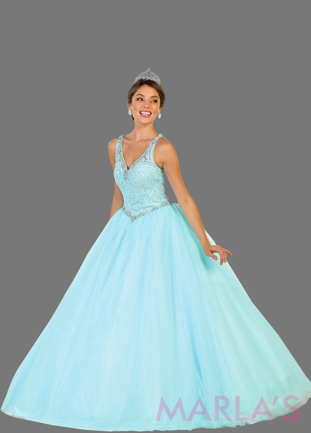 Back of Long v neck light blue princess ball gown with rhinestone beading Perfect for Engagement dress, Quinceanera, Sweet 16, Swet 15 and aqua blue Wedding Reception Dress. Available in plus sizes