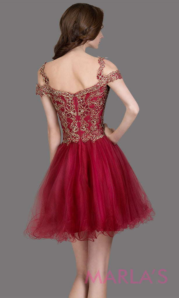 Short off shoulder tulle burgundy red grade 8 grad dress with gold lace. This puffy simple dark red graduation dress is great as quinceanera damas, sweet 16 birthday, bat mitzvah, confirmation, junior bridesmaid, 8th grade. Plus sizes avail