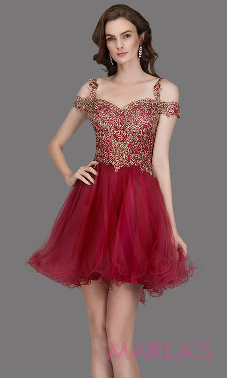8496243bbb6 Short off shoulder tulle burgundy red grade 8 grad dress with gold lace.  This puffy