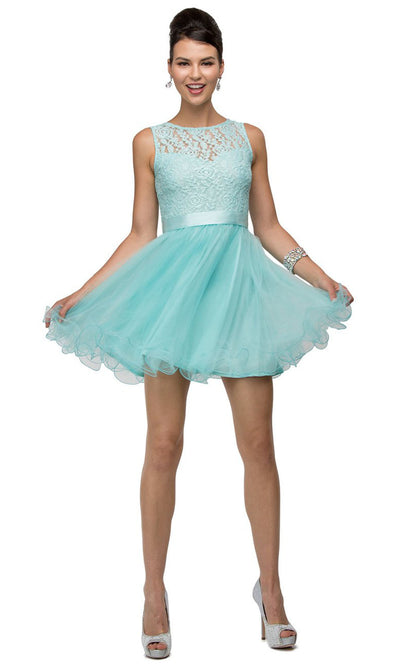 Dancing Queen - 8741 Sleeveless Lace Bodice Fit And Flare Dress In Blue