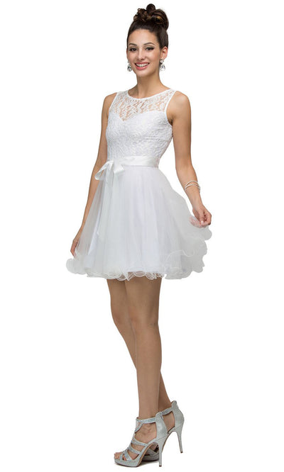 Dancing Queen - 8741 Sleeveless Lace Bodice Fit And Flare Dress In White & Ivory