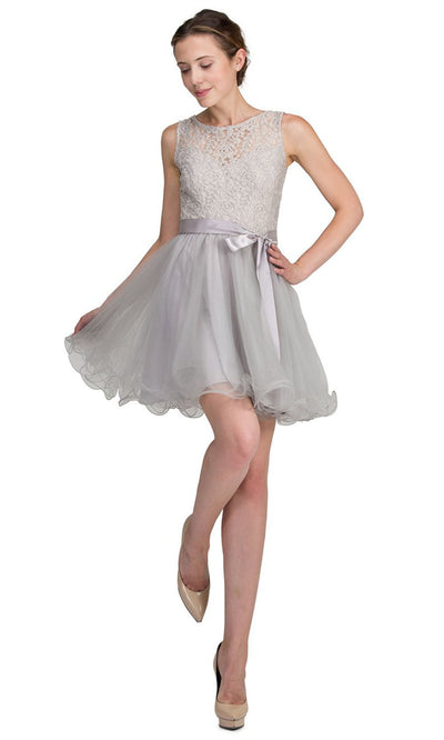 Dancing Queen - 8741 Sleeveless Lace Bodice Fit And Flare Dress In Silver & Gray
