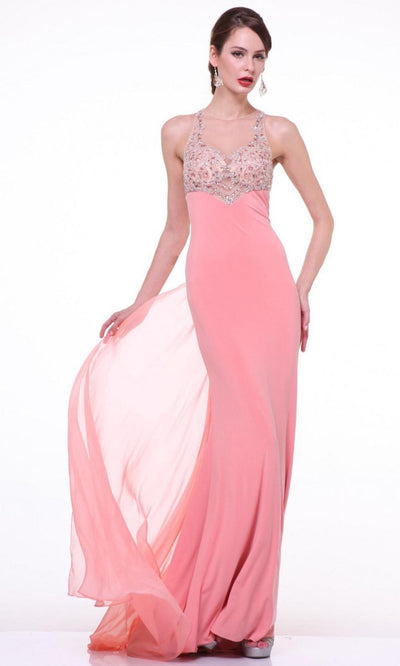 Cinderella Divine - 8719 Beaded Illusion Sheath Dress In Coral & Orange