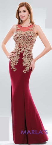 * Long Fitted Burgandy Illusion Back