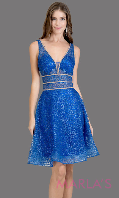 Short V neck royal blue glittery grade 8 grad dress w wide straps & flowy a-line skirt. This blue graduation dress is perfect as a short prom dress, quinceanera damas, confirmation, bat mitzvah dress, 8th grade grad dress. Plus sizes avail