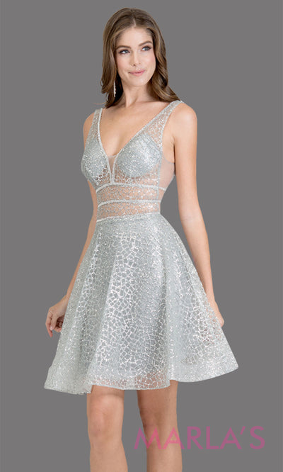 Short V neck silver glittery grade 8 grad dress w wide straps & flowy a-line skirt. This grey graduation dress is perfect as a short prom dress, quinceanera damas, confirmation, bat mitzvah dress, 8th grade grad dress. Plus sizes avail