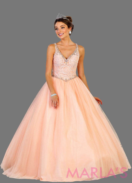 Long v neck pink princess ball gown with rhinestone beading Perfect for Engagement dress, Quinceanera, Sweet 16, Sweet 15 and light pink Wedding Reception Dress. Available in plus sizes