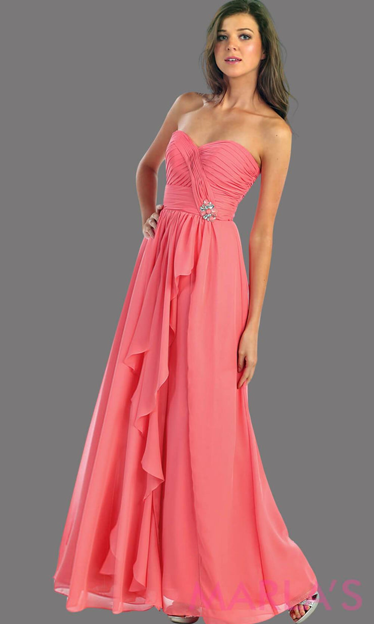 This is a simple, strapless coral dress with a flowy a-line skirt. It has a ruched bodice and is perfect for prom, bridesmaid dresses, or even as a wedding guest. This long gown is available in plus sizes