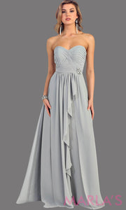This is a simple, strapless light gray dress with a flowy a-line skirt. It has a ruched bodice and is perfect for prom, bridesmaid dresses, or even as a wedding guest. This gray long gown is available in plus sizes