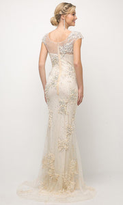 Cinderella Divine - 8983 Beaded Cap Sleeve Sheath Gown In Champagne & Gold