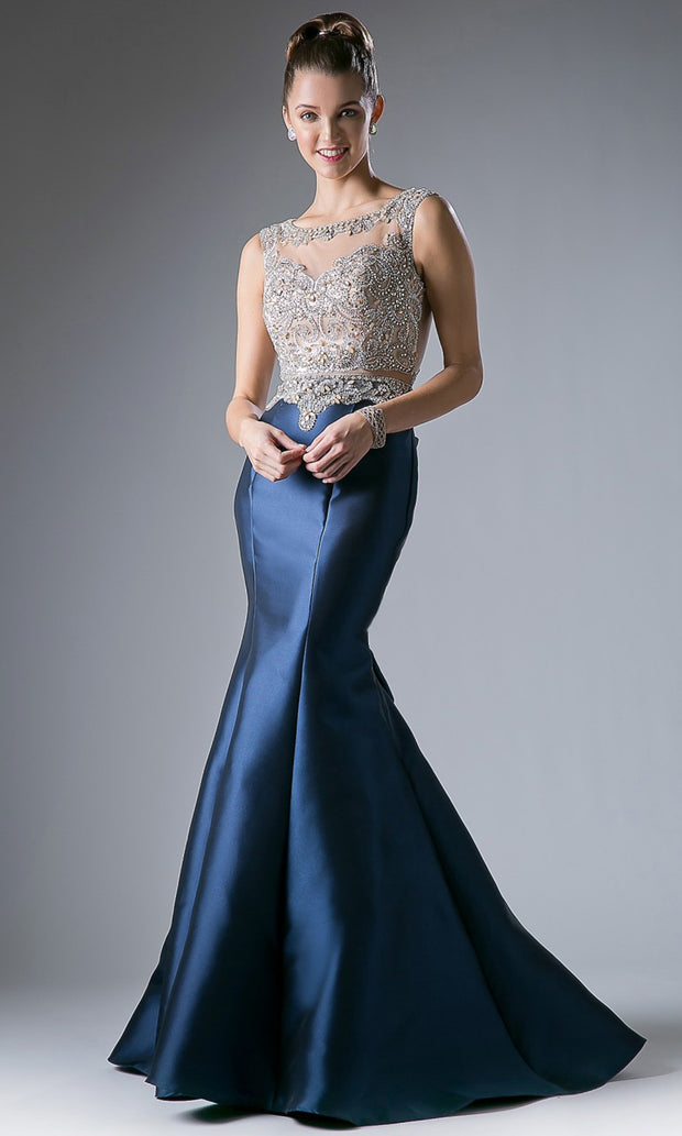 Cinderella Divine - 8990 Embellished Satin Mermaid Gown In Blue
