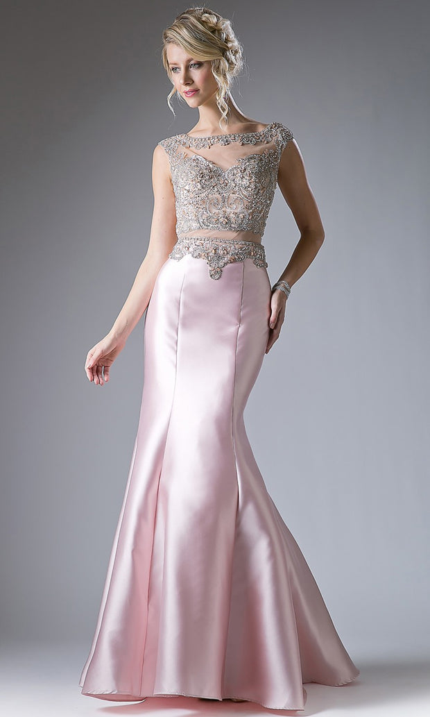 Cinderella Divine - 8990 Embellished Satin Mermaid Gown In Pink