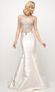 Cinderella Divine - 8990 Embellished Satin Mermaid Gown In White & Ivory