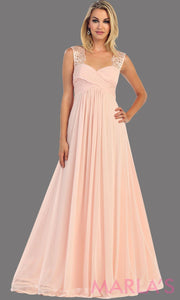 This is a simple long blush dress with lace straps. It is a full a-line skirt  and is perfect for your next function. It can be worn as a wedding guest dress, simple pink prom dress, or even party dress