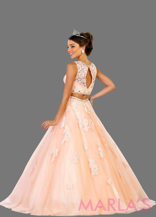 Back of Long two piece blush pink ball gown with white lace pattern. Perfect for Engagement dress, Quinceanera, Sweet 16, Sweet 15, Debut and light pink Wedding Reception Dress. Available in plus