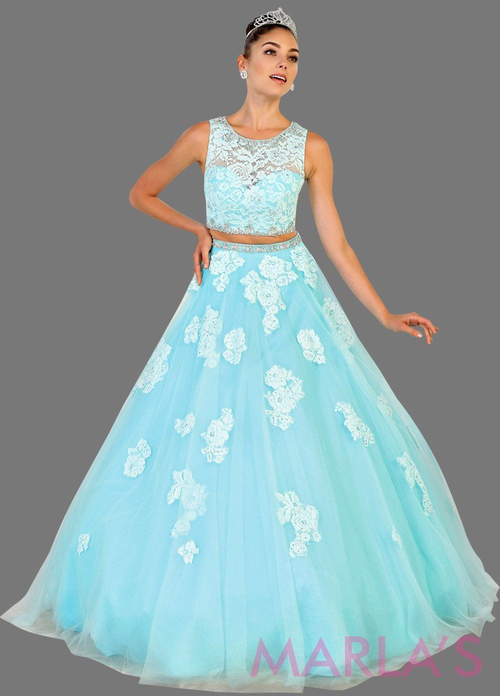 Long Aqua Blue Two Piece High Neck Ball Gown With Lace ...