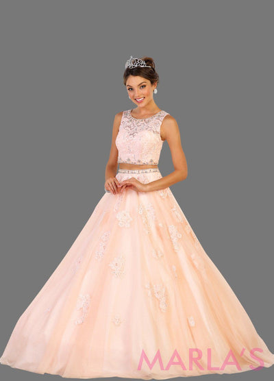 Long two piece blush pink ball gown with white lace pattern. Perfect for Engagement dress, Quinceanera, Sweet 16, Sweet 15, Debut and light pink Wedding Reception Dress. Available in plus