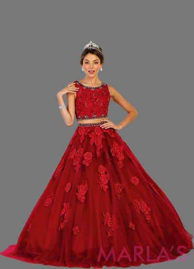 Long two piece burgundy red ball gown with white lace pattern. Perfect for Engagement dress, Quinceanera, Sweet 16, Sweet 15, Debut and dark red Wedding Reception Dress. Available in plus
