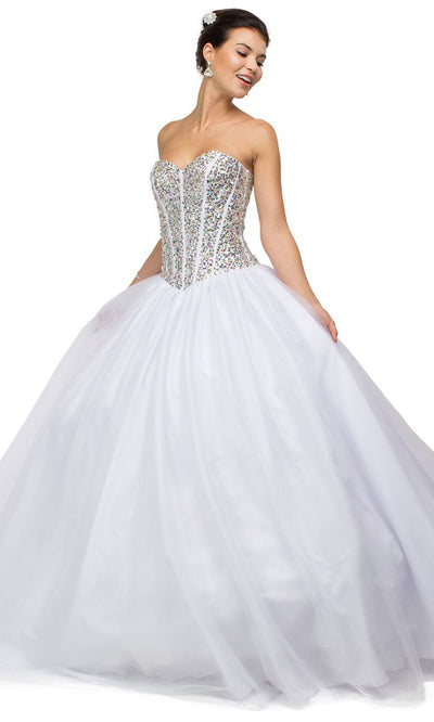 Dancing Queen - 9094 Strapless Sequin Corset Bodice Ballgown In White & Ivory