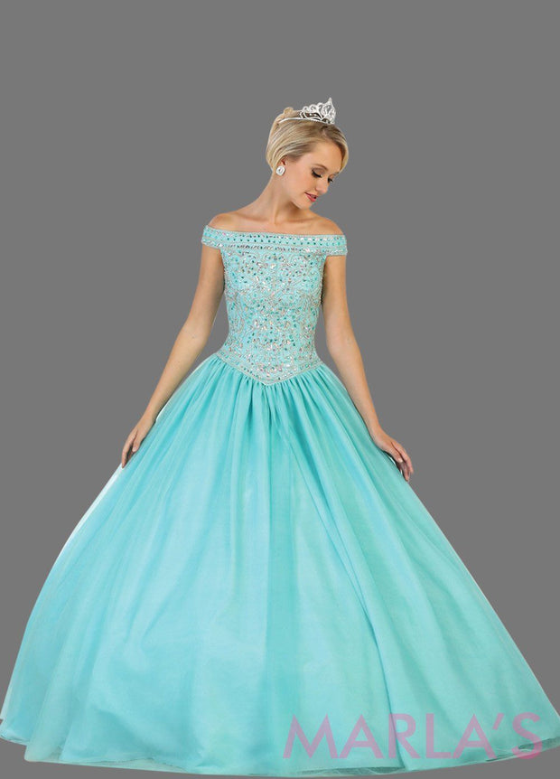 Long off shoulder aqua blue ball gown with beaded bodice and full tulle skirt. This is perfect for your quinceanera, Sweet 15, Sweet 16, Reception Wedding Dress, Engagement Dress, Prom Ballgown