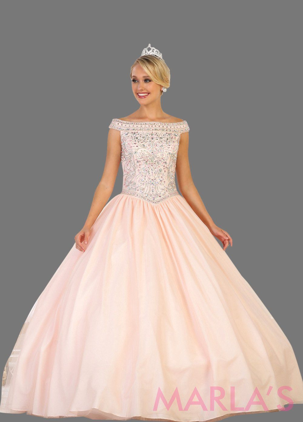 Long off shoulder pink blush ball gown with beaded bodice and full tulle skirt. This is perfect for your quinceanera, Sweet15, Sweet 16, Reception Wedding Dress, Engagement Dress, Prom Ballgown
