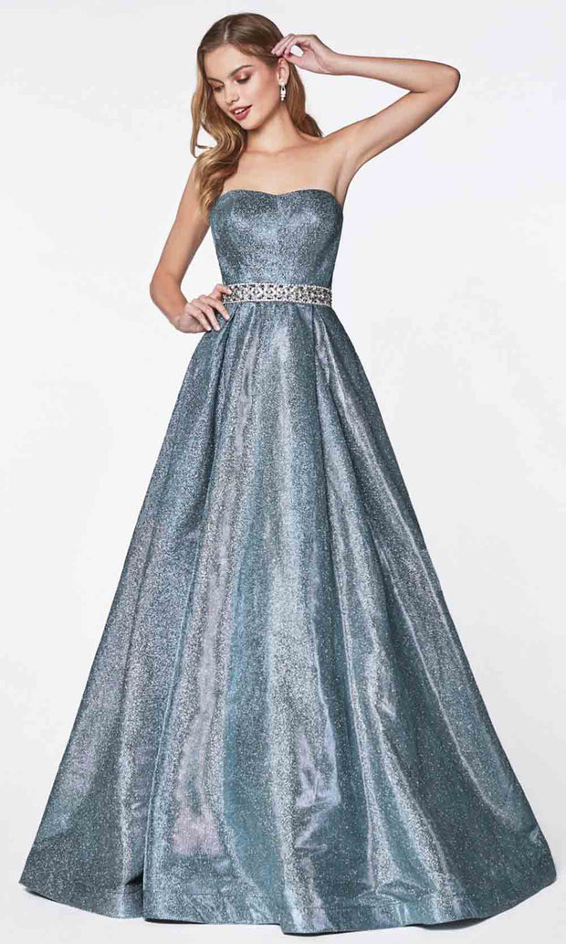 Cinderella Divine - 9175 Glittered A-Line Gown In Blue and Silver