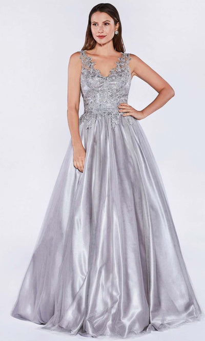 Cinderella Divine - 9178 V Neck A-Line Gown In Purple